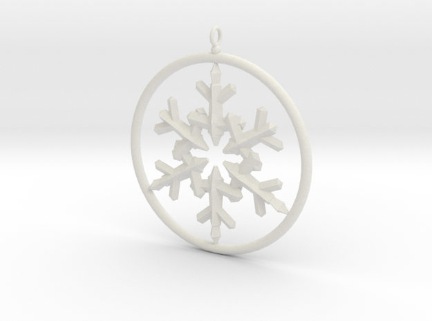 Flake Ring 6 Point Pendant - 6cm - w Loopet in White Natural Versatile Plastic