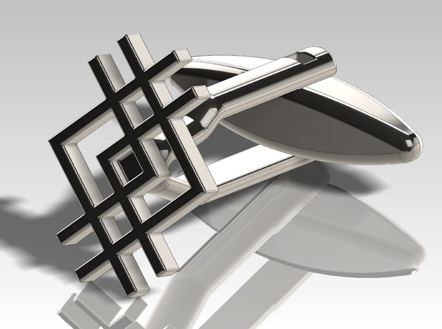 Cufflink - Squarestyle in Polished Bronzed Silver Steel