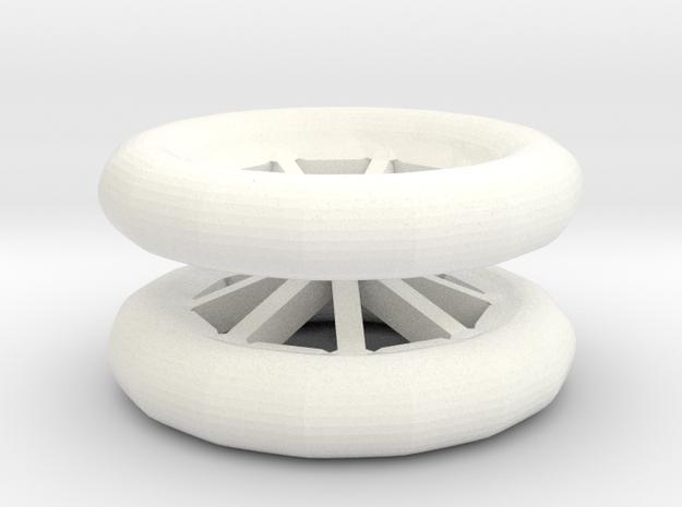 Double Wheel Export 3 in White Processed Versatile Plastic