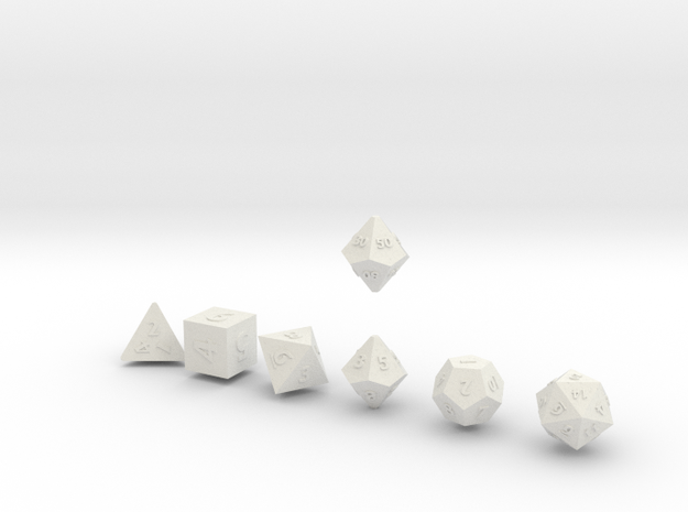 QUADRANT Sharp Outies dice in White Natural Versatile Plastic