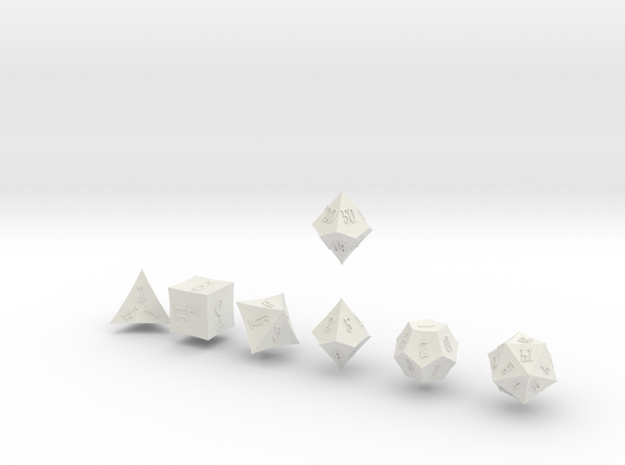 ELDRITCH POINTY Outies dice in White Natural Versatile Plastic