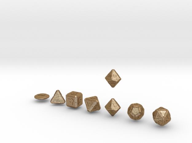 CYBERTECH Futuristic Outie Bevels Dice plus Coin 3d printed