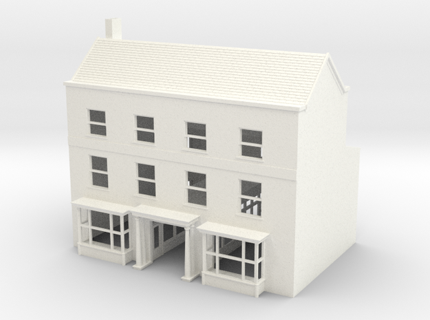 HDH-1 N Scale Honiton High street Hotel 1:148 in White Strong & Flexible Polished