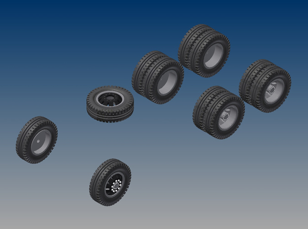 018001.1_Tires and rims for H0 dumptruck (1:87) in Smooth Fine Detail Plastic
