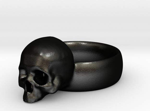 Skull Ring in Matte Black Steel