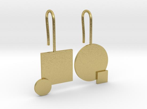 Carré et cercle Earrings in Raw Brass