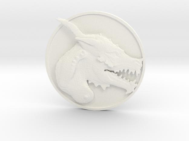 Dragon Medallion  in White Processed Versatile Plastic