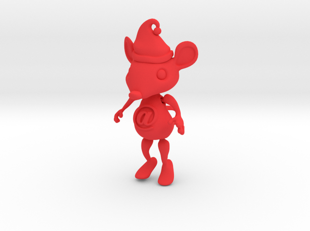 AT Hanging Mouse Ornament in Red Strong & Flexible Polished