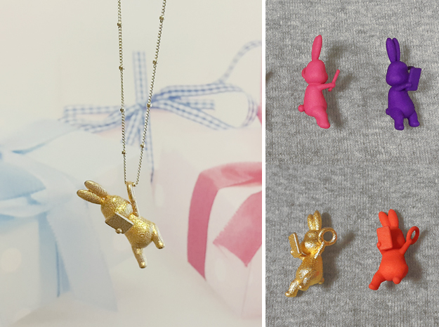 Phoneholic Rabbit Pendant in Polished Gold Steel
