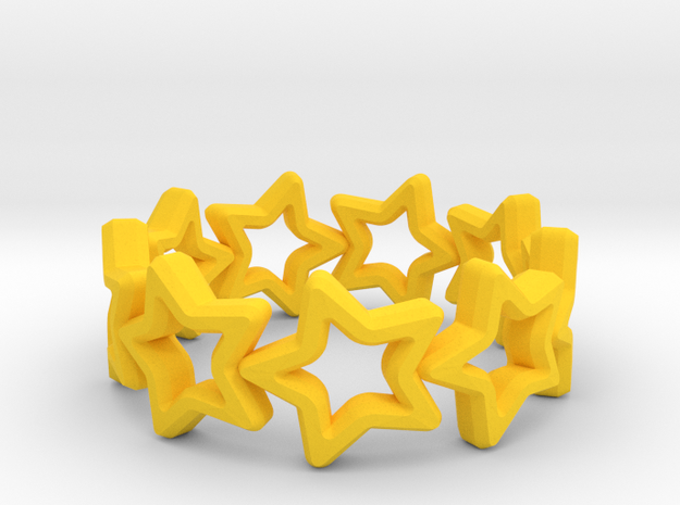 Stars Ring 17 in Yellow Strong & Flexible Polished