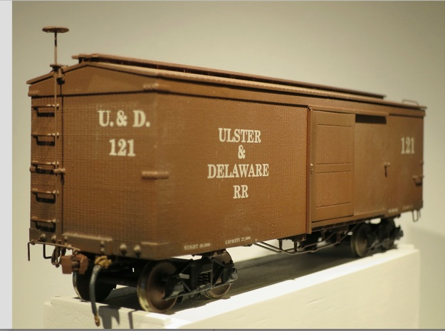 Boxcar 1880 Ulster and Delaware S scale 1/64 in Smooth Fine Detail Plastic