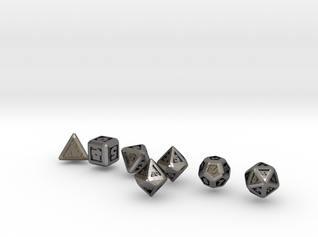 FUTURISTIC GESTALT dice in Polished Nickel Steel
