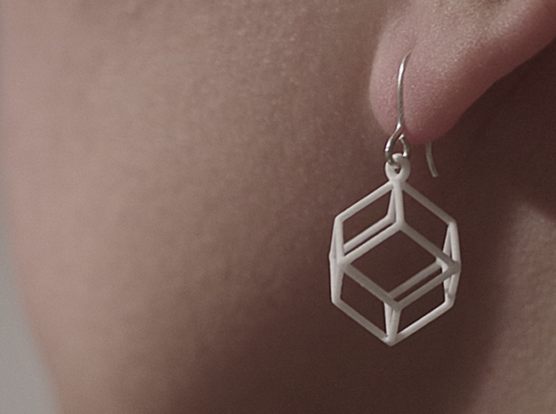 Rhombic Dodecahedron Earrings  in White Processed Versatile Plastic