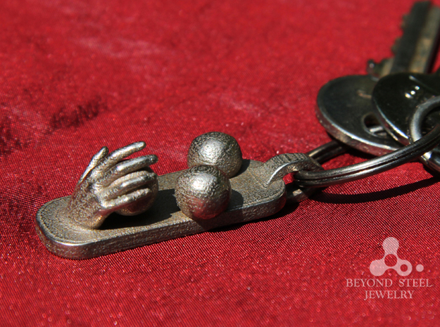 Juggling Ball Pendant 3d printed Stainless Steel Finish