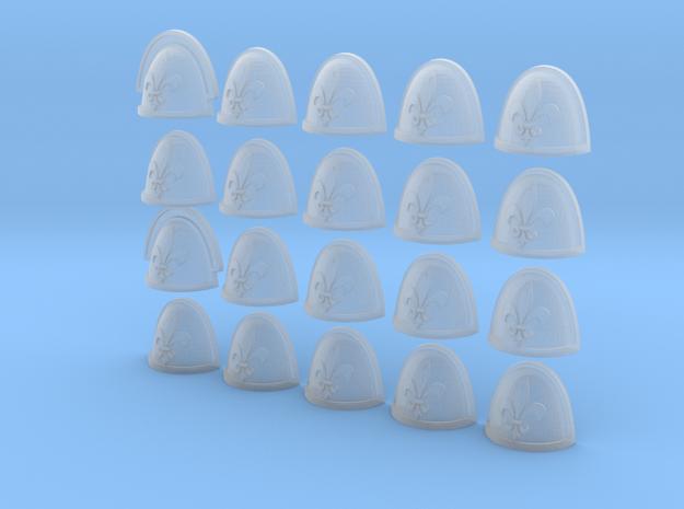 Fleur De Lis - 20, 28mm Shoulder Pads in Frosted Ultra Detail