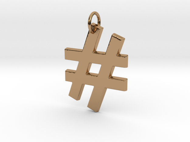 Hashtag in Polished Brass