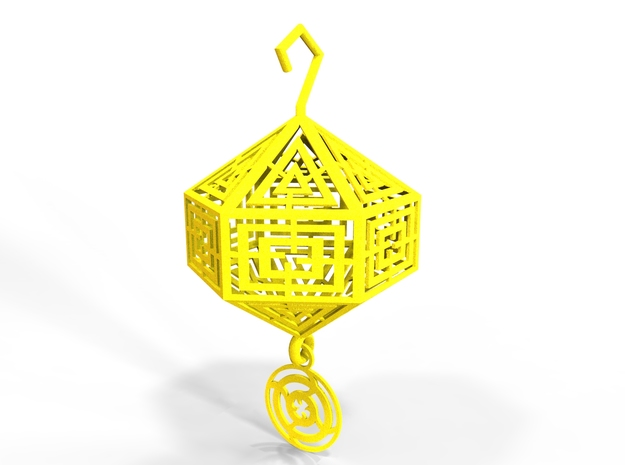 zen Christmas (size 60 mm diam for the ball ) in Yellow Processed Versatile Plastic