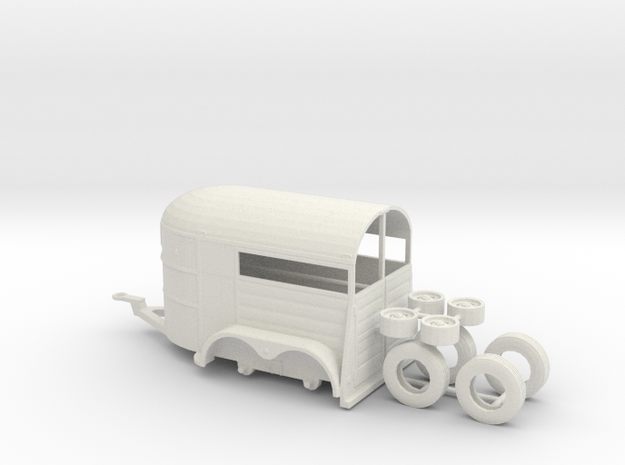 1/64th Tandem axle 13' long horse trailer in White Natural Versatile Plastic