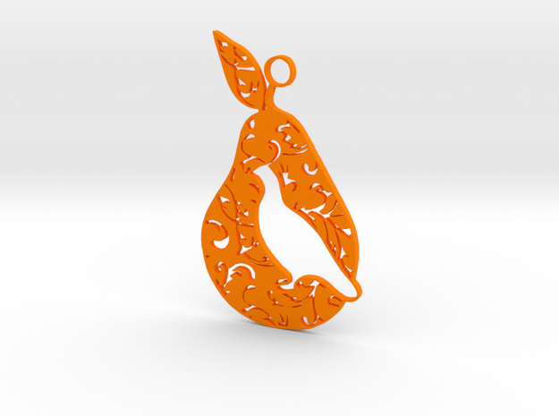 12 Days of Christmas Ornament Partridge in a Pear  in Orange Processed Versatile Plastic