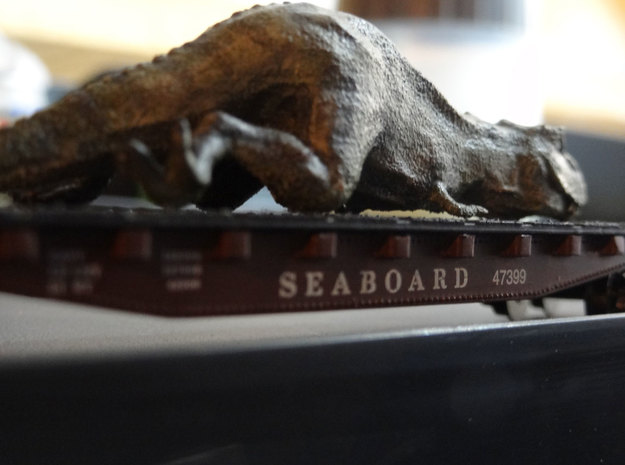 T. Rex (sedated) in N Scale 1:160 3d printed The grainy texture of White Strong & Flexible is perfect as scaly skin.