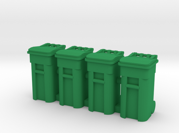 Trash Cart 64 gal - HO 87:1 Scale Qty (4) in Green Processed Versatile Plastic