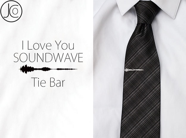 English I Love You TIE BAR in Rhodium Plated Brass