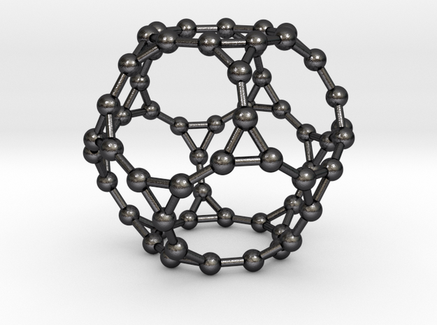 0384 Truncated Dodecahedron V&E (a=1сm) #003 in Polished and Bronzed Black Steel