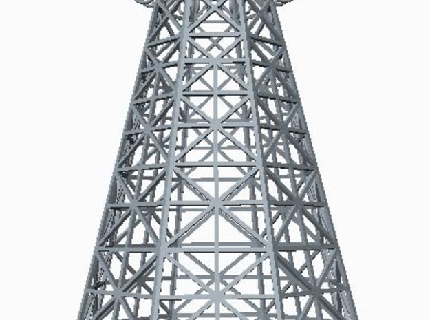 Tesla Tower Miniature 3d printed Low perspective rendering