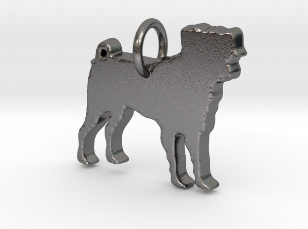 Dog Pendant in Polished Nickel Steel