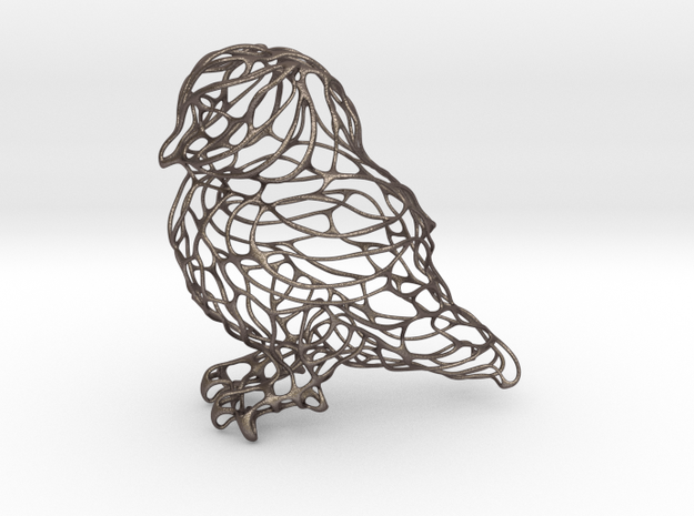 Owl Thin Wire 8cm in Polished Bronzed Silver Steel