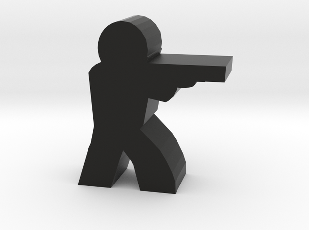 Game Piece, Character with Shotgun, Aiming in Black Natural Versatile Plastic