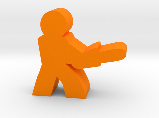 Game Piece, Character with Chainsaw in Orange Processed Versatile Plastic