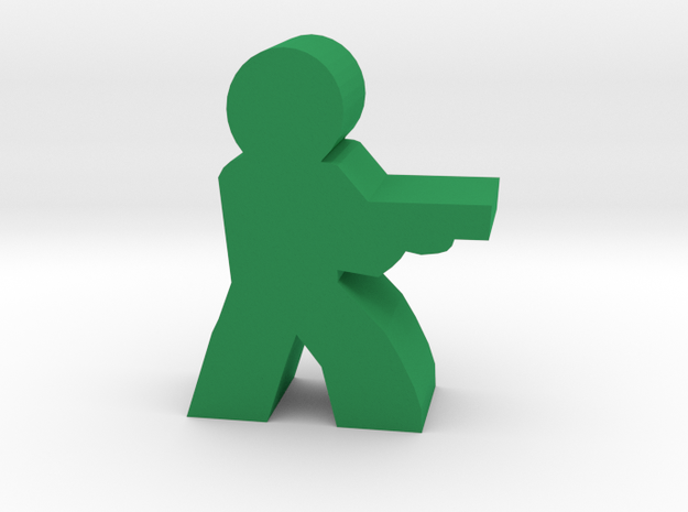 Game Piece, Character with Shotgun in Green Processed Versatile Plastic