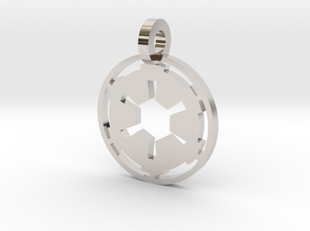 3d Star Wars Empire Pendant in Rhodium Plated Brass