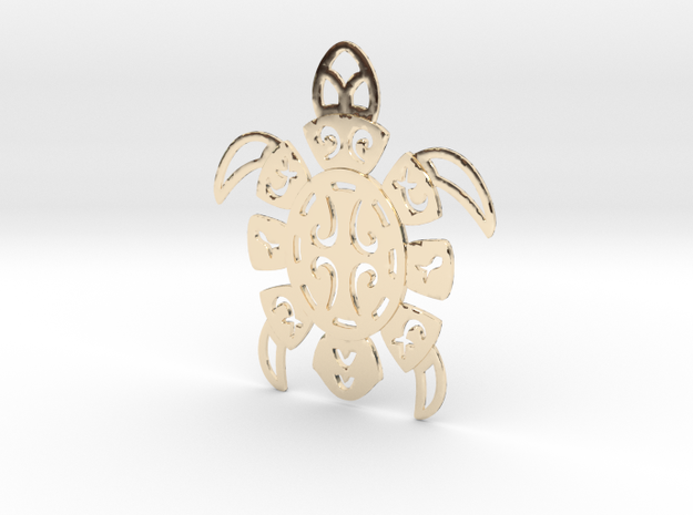 Pacific Turtle in 14k Gold Plated Brass