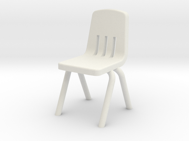 1:48 Plastic School Chair in White Strong & Flexible