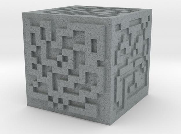 Maze cube in Polished Metallic Plastic