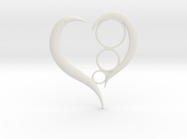 Heart Token/ Pendent  in White Strong & Flexible