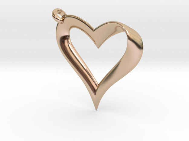 Mobius Heart Pendant v2 in 14k Rose Gold Plated