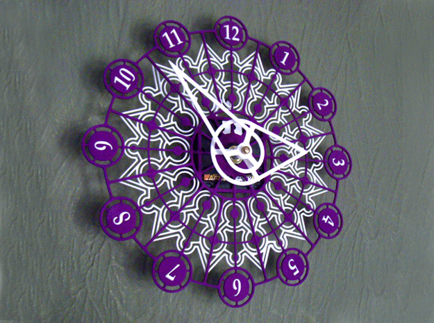 Kaleidoscope Clock - Part B 3d printed The completed Kaleidoscope Clock with Part A in Purple Strong & Flexible and Part B in White Strong & Flexible.This is a two-part clock face kit. This model is Part B. The first part is available at http://www.shapeways.com/model/580491
