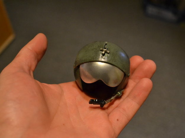 1/4 Scale pilot head figure rc model helicopter 3d printed Helmet after painting