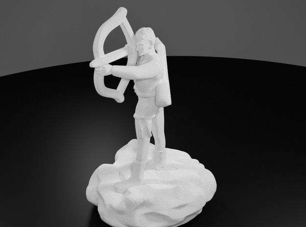 Gnome Bard with Lute and Shortbow in White Processed Versatile Plastic