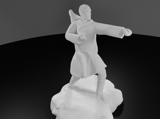 Elf Monk With Bow On Back in White Processed Versatile Plastic