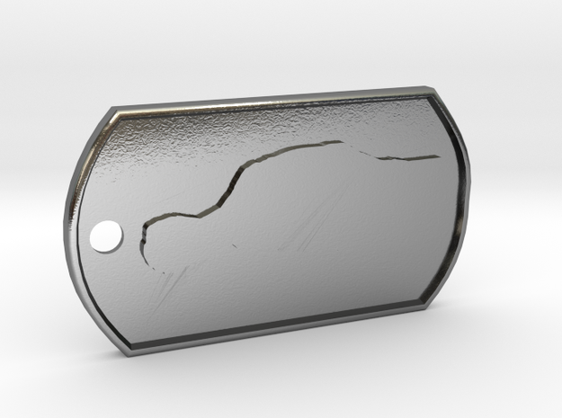 Jeremy Clarkson Silhouette Dog Tag in Polished Silver