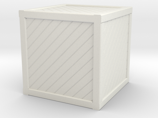 Large Open Crate Miniature in White Natural Versatile Plastic