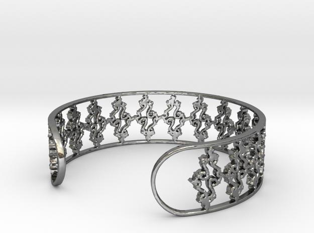 Julia Set Bracelet 7in (18cm) in Fine Detail Polished Silver
