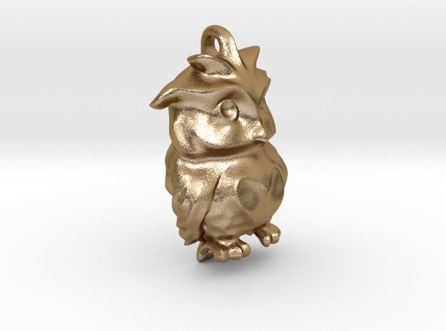 Sad Owl in Polished Gold Steel