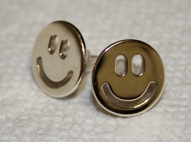 Smiley Earrings 3d printed Premium Silver (hand polished sterling silver)