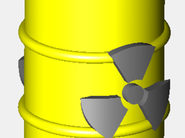 Power Grid Yellow Uranium Barrels, Set of 12 3d printed A render of one barrel. The radioactive sign appears darker when printed.