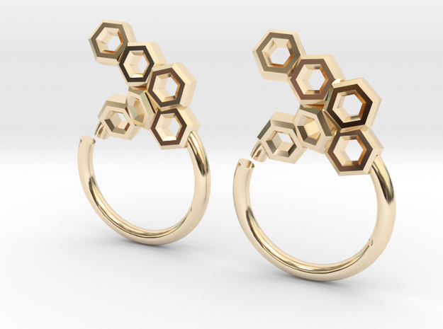 Honeycomb Seam Ring in 14K Gold